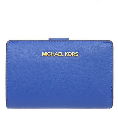 Michael Kors Medium Bifold Zip Coin 35T0GTVF8L Jet Set Travel Wallet In Eletric Blue