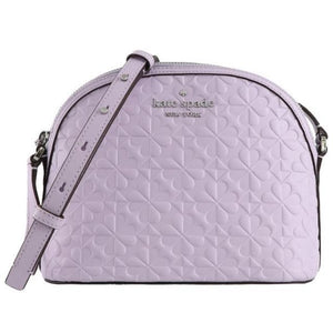 Kate Spade X Large Hollie Spade Clover Geo Embossed WKRU6770 Dome Crossbody Bag In Light Frozen Lilac