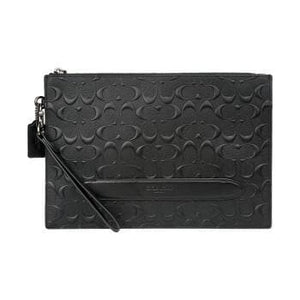 Coach Structured Pouch In Signature Leather F75914 (Black)