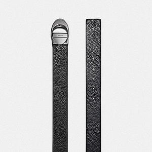 Coach Wide Sculpted C Pebble Leather Belt F12027 (Black/Midnight)