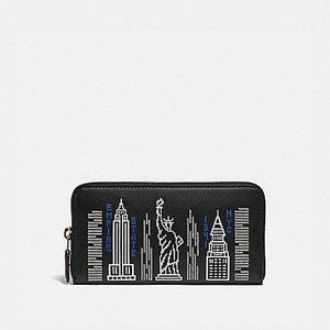 Coach Accordion Zip C1106 Wallet With Skyline Embroidery In Black