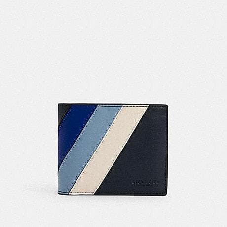 Coach 3 In 1 C2026 Wallet With Diagonal Stripes In Midnight Sport Blue Multi