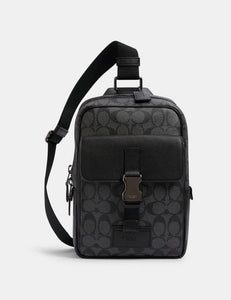Coach Signature Track Pack C2711 Crossbody Bag In Charcoal