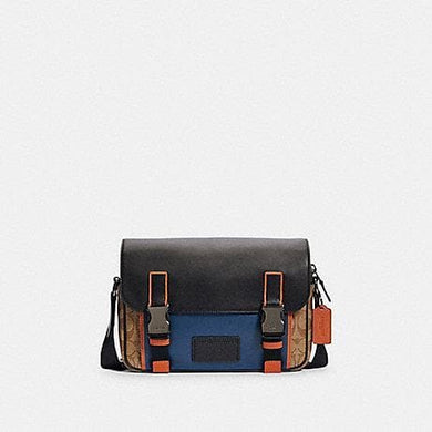 Coach Signature Track C2725 Messenger Bag In Khaki True Blue Multi