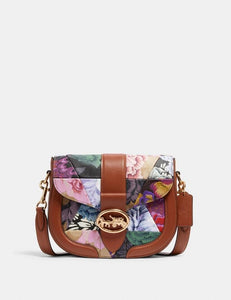 Coach Patchwork Georgie C2804 Saddle Crossbody Bag With Kaffe Frassett Print In Khaki Pink Multi
