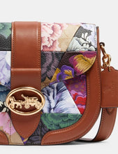 Load image into Gallery viewer, Coach Patchwork Georgie C2804 Saddle Crossbody Bag With Kaffe Frassett Print In Khaki Pink Multi