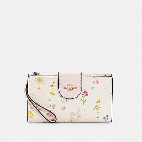 Coach Tech C3371 Wallet With Spaced Wildflower Print In Chalk Multi