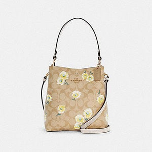 Coach Small Signature Town C3411 Bucket Bag With Daisy Print In Light Khaki Chalk Multi