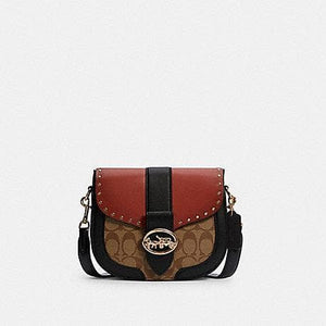 Coach Signature Georgie C3593 Saddle Crossbody Bag In Khaki Terracotta Multi