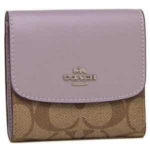 Coach Small Wallet in Signature Canvas F87589 (Khaki/Lilac/Silver)