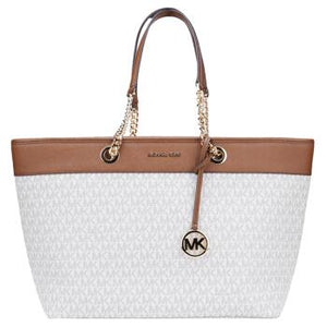 Michael Kors Shania Large EW Chain Tote Bag 35H9GI4T7B In Vanilla