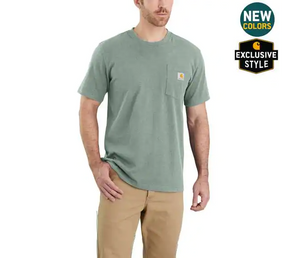 Carhartt Relaxed Fit Heavy Weight Short Sleeve T-Shirt In Leaf Green Snow Heather