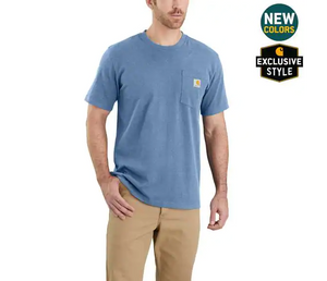 Carhartt Relaxed Fit Heavy Weight Short Sleeve T-Shirt In Coastal Snow Heather