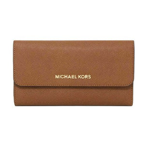 Michael Kors Large Trifold Jet Set Travel Leather (Luggage) 35S8GTVF7L