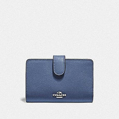 Coach Medium Corner Zip Wallet in Crossgrain Leather F11484 (Silver/Blue Lavender)