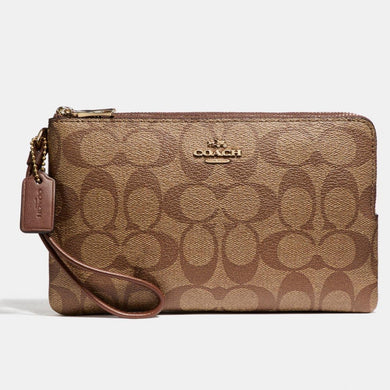 COACH DOUBLE ZIP WALLET IN SIGNATURE CANVAS F16109 (LIGHT GOLD/KHAKI)