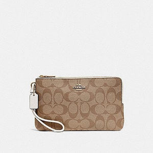 Coach Double Zip Wallet In Signature Canvas F16109 (Khaki/Chalk/Gold)