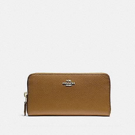 COACH ACCORDION ZIP WALLET IN POLISHED PEBBLE LEATHER F16612 (LIGHT SADDLE/LIGHT GOLD)