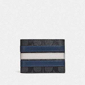 COACH SLIM BILLFOLD WALLET IN SIGNATURE CANVAS WITH VARSITY STRIPE F26173 (MIDNIGHT NVY/DENIM/CHALK)