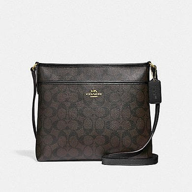 COACH HANDBAG FILE CROSSBODY IN SIGNATURE CANVAS F29210 (BROWN/BLACK/IMITATION GOLD)