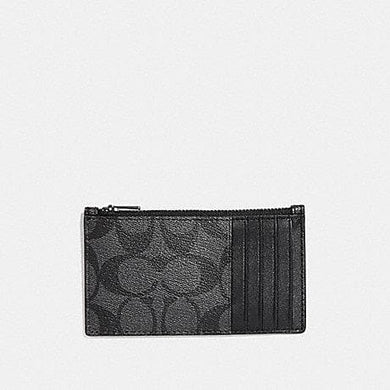 COACH ZIP CARD CASE IN SIGNATURE CANVAS F32256 (CHARCOAL/BLACK)