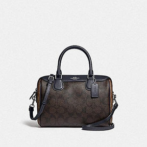 Coach Mini Bennet Satchel in Blocked Signature Canvas F34279 (Silver/Brown Midnight)