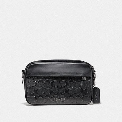 Coach Graham F50713 Signature Embossed Crossbody Bag In Black