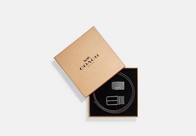 COACH BELT MOD PLAQUE HARNESS CUT-TO-SIZE REVERSIBLE LEATHER F65185 (BLACK/DARK BROWN)