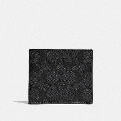 Coach Id Billfold Wallet In Signature Canvas F66551 (Charcoal/Black/Black Antique Nickel)