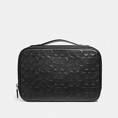 Coach Multifunction Pouch in Signature Leather F66555 (Black/Black Antique Nickel)