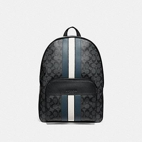 Coach Houston Backpack in Signature Canvas with Varsity Stripe F67250 (CHARCOAL/DENIM/CHALK/BLACK ANTIQUE NICKEL)