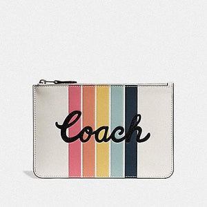 COACH POUCH WITH RAINBOW COACH PRINT F68622 (CHALK/SILVER)