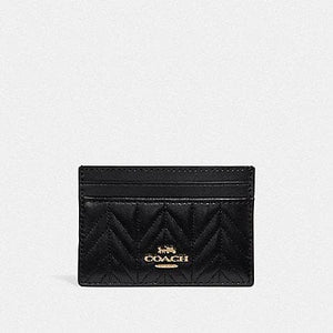 COACH CARD CASE WITH QUILTING F73000 (BLACK/IMITATION GOLD)