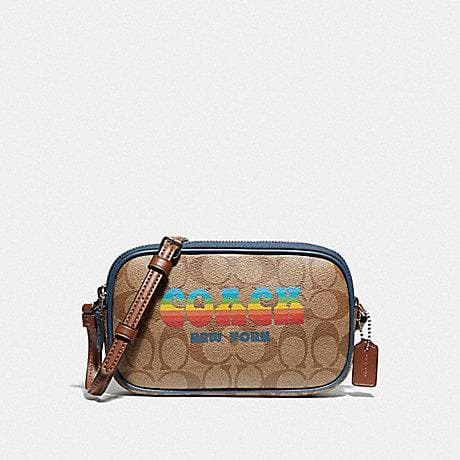 COACH CROSSBODY POUCH IN SIGNATURE CANVAS WITH RAINBOW COACH ANIMATION F73066 (KHAKI/MULTI/SILVER)