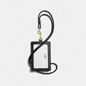 COACH LANYARD ID IN SIGNATURE LEATHER F73602 (BLACK/GOLD)
