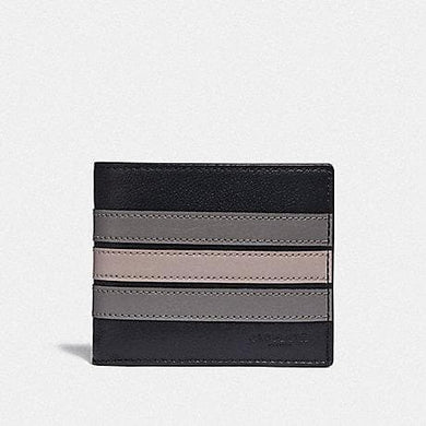 COACH 3-IN-1 WALLET WITH VARSITY STRIPE F73629 (BLACK ANTIQUE NICKEL/BLACK/ GREY/ CHALK)