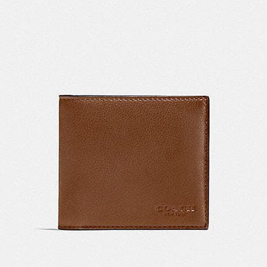 Coach Double Billfold F75084 Wallet In Dark Saddle