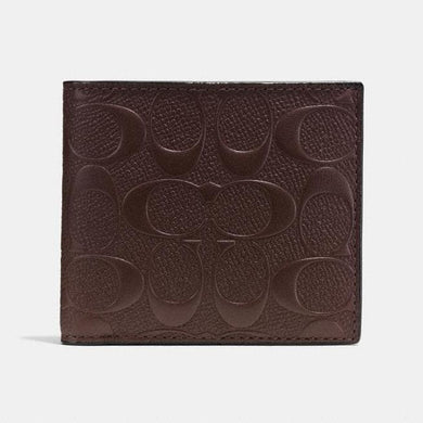 Coach Coin Wallet In Signature Crossgrain Leather F75363 (Mahogany)