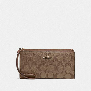 Coach Long Wallet in Signature Canvas F76580 (Khaki/Saddle 2/Gold)