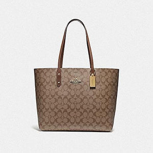 (AS IS) Coach Signature Town Tote Bag F76636 In Khaki Saddle