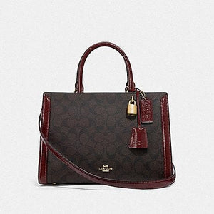 COACH ZOE CARRYALL IN SIGNATURE CANVAS F76703 (IMMITATION GOLD/BROWN/WINE)