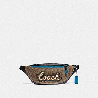 COACH WARREN BELT BAG IN SIGNATURE CANVAS WITH COACH SCRIPT F76795 (TAN/BLACK ANTIQUE NICKEL)