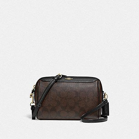 Coach Bennett Crossbody In Signature Canvas F77879 (Brown/Black/Gold)