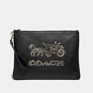 Coach Large Wristlet 30 with Chelsea Animation F78048 (Black/Multi/Imitation Gold)