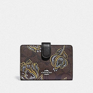 Coach Medium Corner Zip Wallet in Signature with Tulip Print F78077 (Silver/Chestnut Metallic)