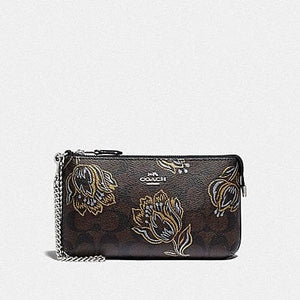 Coach Large Wristlet in Signature Canvas with Tulip Print F78092 (Silver/Chestnut Metallic)