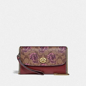 Coach Chain Crossbody in Signature Canvas with Desert Tulip Print F78702 (Imitation Gold/Khaki Pink Multi)