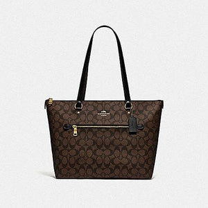 Coach Gallery Tote in Signature Canvas F79609 (Imitation Gold/Brown/Black)