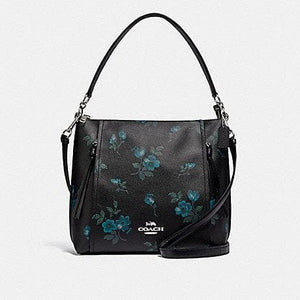 Coach Marlon Hobo Shoulder Bag With Victorian Floral Print F79996 In Black