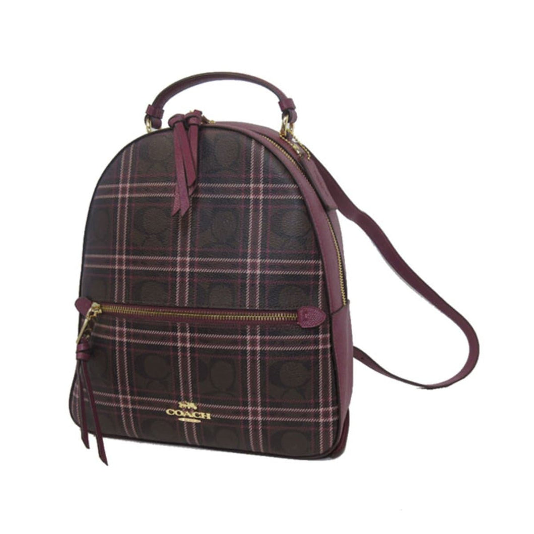 Coach Jordyn Backpack In Signature Canvas With Shirting Plaid Print F80051 (IM/Brown Fuchsia Multi)